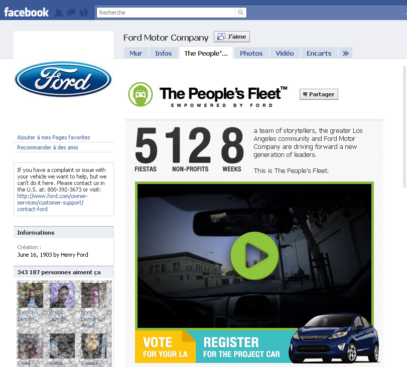 page fans ford facebook