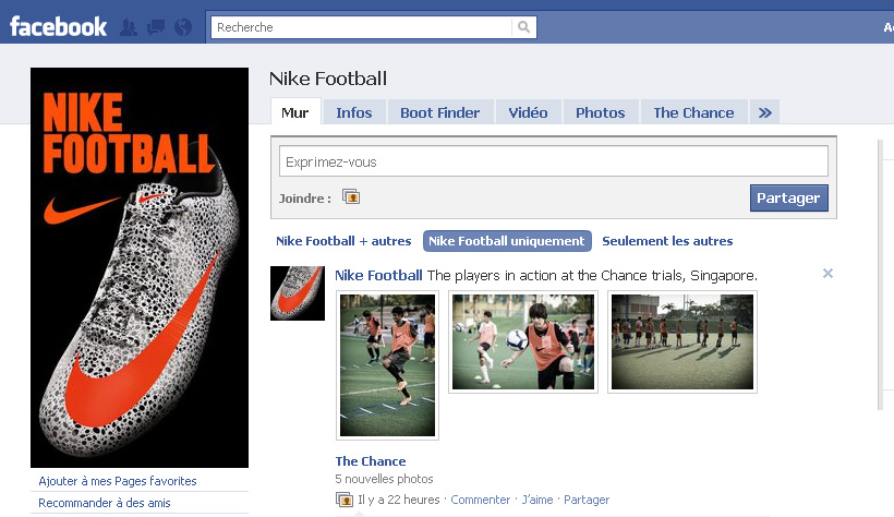page fans nike facebook
