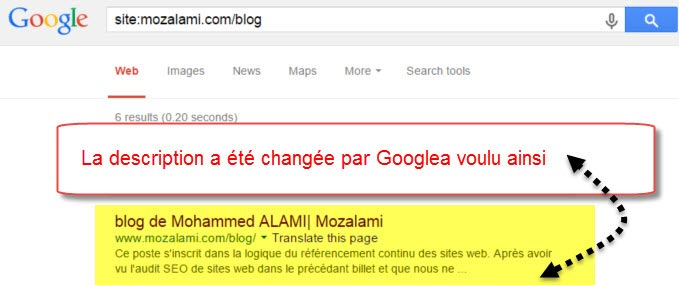 meta description change google mozalami