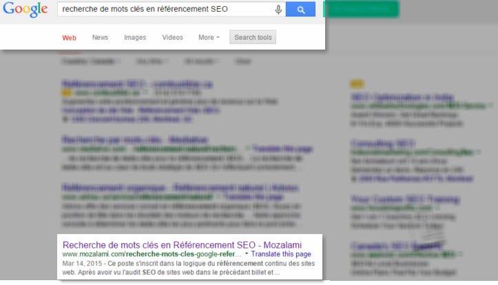 recherche mot cles contenu alignement mozalami