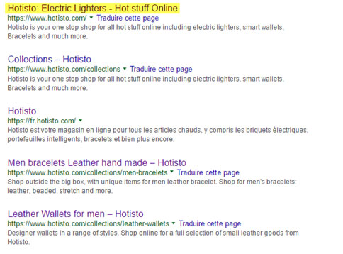 hotisto ecommerce electric lighters serps
