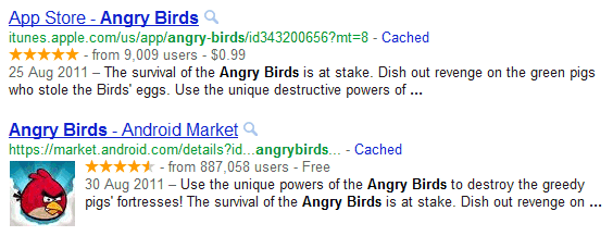 angry birds rich-snippets pour apps