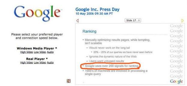 Google annonce 200 facteurs de classement
